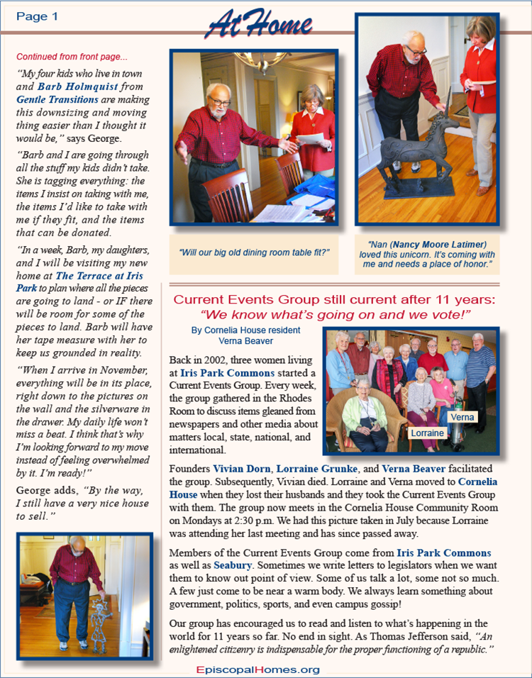 "Episcopal Homes ""At Home"" newsletter Fall/Winter 2014"